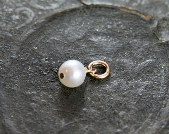Wire Wrapped Pearl Pendant, 14k Gold Filled Freshwater Pearl June Birthstone - Add a Dangle