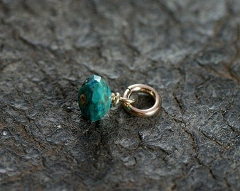 Wire Wrapped Turquoise Pendant, 14k Gold Filled Tiny December Birthstone - Add a Dangle
