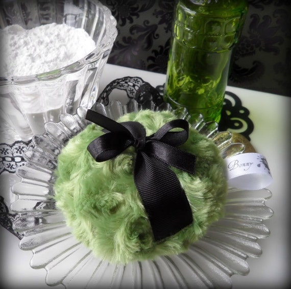 Green Powder Puff - olive green pouf - moss and black powderpuff - gift boxed by Bonny Bubbles