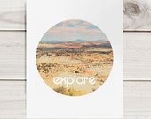 "Motivational 8""x10"" Print - Explore - circular format tribal style bohemian minimalist mountains sky blue inspirational"