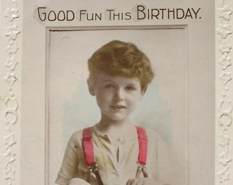 Vintage Postcard Real Photo (RPPC) - Good Fun This Birthday