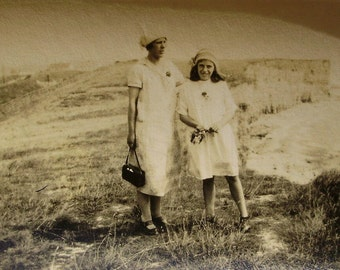 Vintage / Antique Photograph - Mother & Daughter on the Cliffs