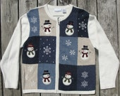 Ugly Christmas Sweater with Charming Appliqued Snowmen and Embroidered Snowflakes