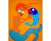 Mermaid Art Series Print 8 of 8 Orange Hair mermaid with Kissing Fish // Colourful Original Art Prints on Canvas // 10 inches x 8 inches