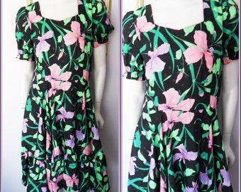 Vtg.60s Silky Black Lilac Green Pink Orchid Print Rockabilly Dress.M.Bust 38.Waist 32.