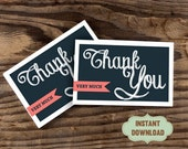 """INSTANT DOWNLOAD Printable Thank You Card. 3x5"""". Print, Cut, Fold, Done. Do it yourself & save money. Never run out of cards again."""