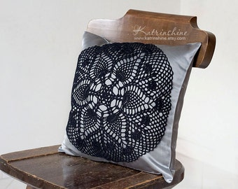 Silver grey and black Pillow Cover With Crocheted Doily Applique OOAK decorative accent pillow