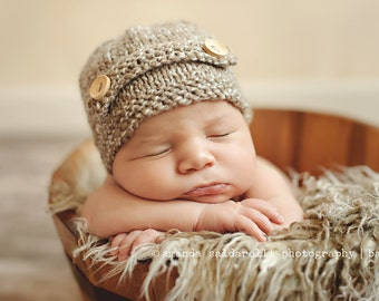 Newborn photo prop, newborn hat, newborn boy, newborn girl, newborn props, Brown/ cream newborn beanie with buttons