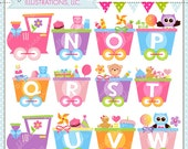 Girly Alphabet Train N-Z Cute Digital Clipart for Commercial or Personal Use, Alphabet Clipart, Alphabet Graphics
