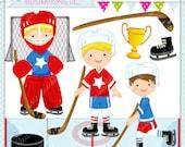 Hockey Boys Cute Digital Clipart - Commercial Use OK - Hockey Clipart, Hockey Graphics, Hockey Boys