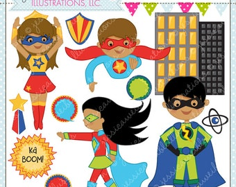 Save the Day Heroes V2 -Dark Skin - Cute Digital Clipart for Commercial or Personal Use, Super Hero Clipart, Superhero Graphics, Hero