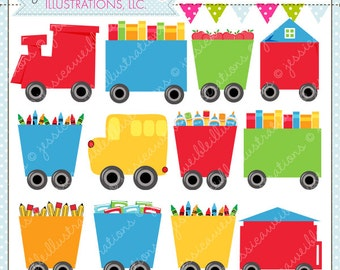 School Train Cars Cute Digital Clipart for Commercial or Personal Use, Train Clipart, Train Graphics, Train Cars, School Clipart