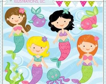 Mystical Mermaids Cute Digital Clipart, Mermaid Clip art,  Mermaids, Mermaid Graphics, Cute Mermaid images, Scrapbooking, Under the Sea