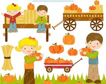 Picking Pumpkins Cute Digital Clipart - Commercial Use OK - Hayride Graphics, Pumpkin Clipart, Autumn Graphics, Pumpkin Patch