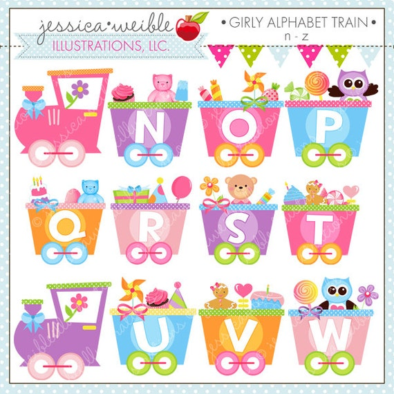 girly alphabet train n z cute digital clipart for commercial or personal use alphabet clipart