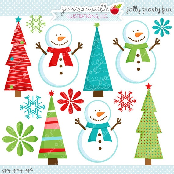 Jolly Frosty Fun Cute Digital Clipart - Commecial Use OK - Snowman Clipart, Christmas Graphics, Snowman Graphics, Digital Art