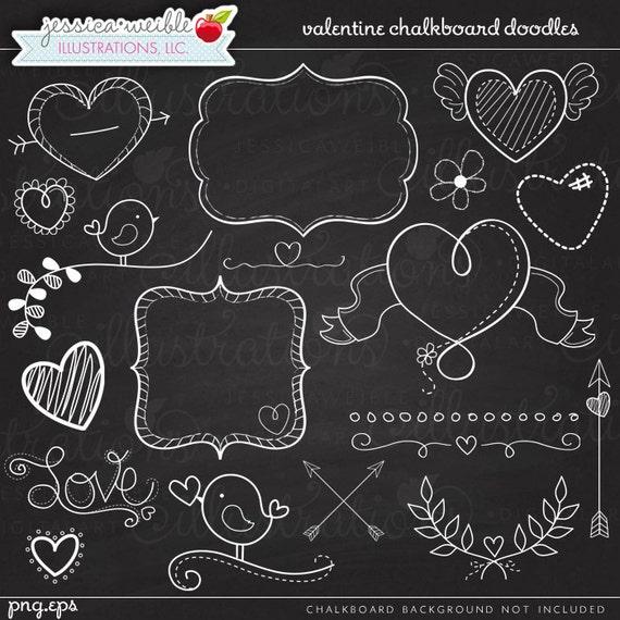 Chalkboard Doodles Digital Clipart - Commercial Use OK - Chalkboard ...