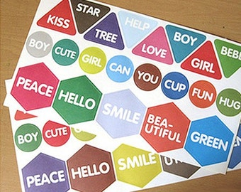 Diagram Message Stickers - 42 stickers (7.1 x 12.6in)