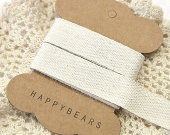 Beige Linen Label Tapes / M - 2 yards (0.8in)