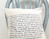 Hand Written Quote/Wedding Vow Pillow/Cushion