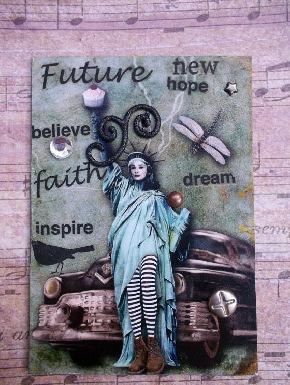 Toris New Freedom Handmade Artist Trading Card