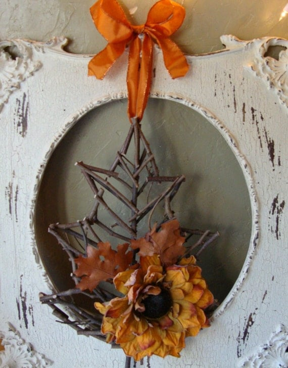 Fall Home Decor Wall Hanging Rustic Twig Leaf By Paperandmache