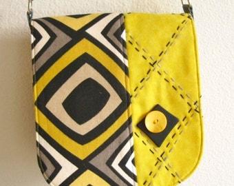 handbag yellow black and gray