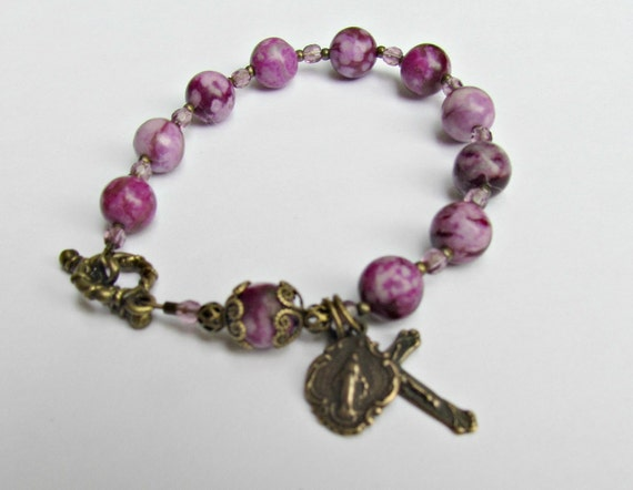 RESERVED MaryENapior --St Therese Rosary Bracelet - Purple Sugilite gemstones and Catholic saint medals jewelry bronze