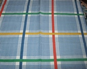 Vintage Plaid Napkins Set of Two, Madras, Primary Colors, Pair