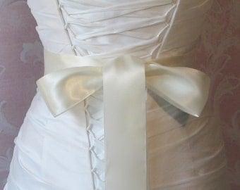 Double Face Ivory Satin Ribbon, 2 Inch Wide, Ribbon Sash, Bridal Sash, Wedding Belt, 4 Yards