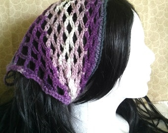 Purple/Grey/White Crochet Kerchief