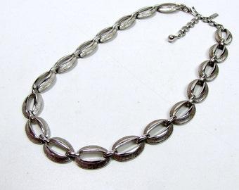Vintage Silver Tone Monet Link Choker Necklace