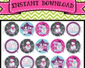 "Let it Snow - pink - INSTANT DOWNLOAD 1"" Bottle Cap Images 4x6 - 290"