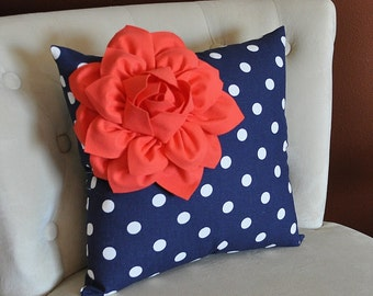 Coral Flower on Navy and White Polka Dot Pillow 14 X 14 - Bedding Pillows - Zig Zag Pillows -Corner Dahlia Pillow Bed Pillows Bedding