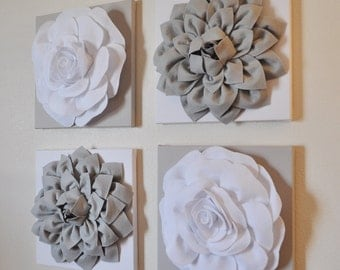 """Wall Decor -SET OF FOUR Gray and White Flower Wall Hangings 12 x12"""" Canvases Flower Wall Art-"""