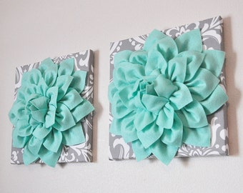 """Mint Green Dahlia on Gray and White Damask 12 x12"""" Canvas Wall Art- Set Of Two- Baby Nursery Wall Decor-"""