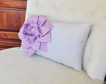 Light Gray Lumbar Pillow Lilac Dahlia on Gray Lumbar Pillow 9 x 16 Nursery Pillow