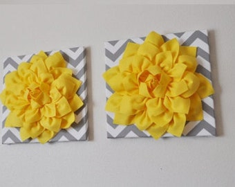 "TWO Wall Flower -Bright Yellow  Dahlia on Gray and White Chevron 12 x12"" Canvas Wall Art- Flower Wall Art"