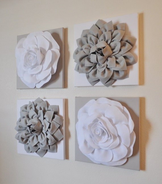 Wall Decor White Flowers : Wall decor set of four gray and white flower hangings