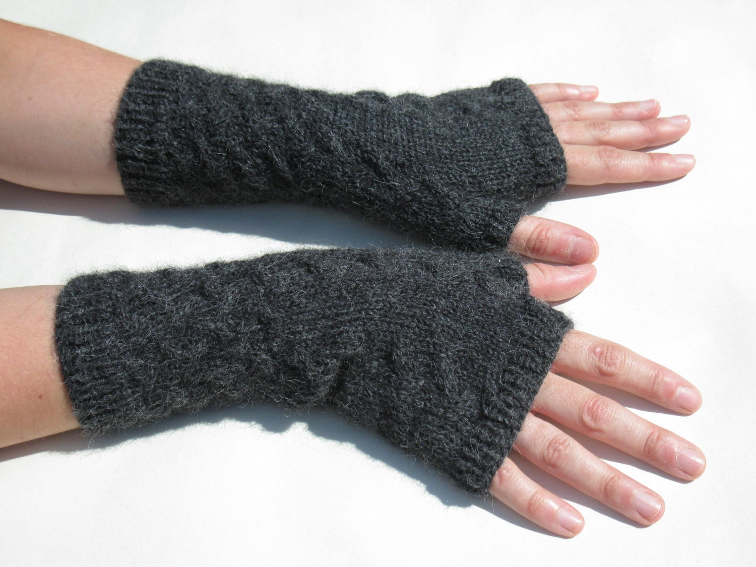 Alpaca Fingerless Mittens Knitting Pattern PDF. Fingerless