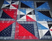 Handmade-Windy Bandanna's-Quilt-Patchwork-Quilt-Throw-Lap- Bed- Made in USA by  MJ Quilts-Free Shipping