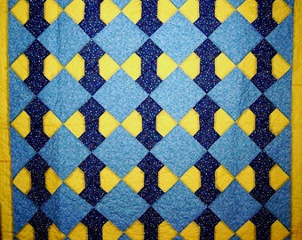 """Free Shipping-Bow Tie pattern-65'"""" X 84""""-Handcrafted Quilt-Patchwork Quilt-Bed Quilt-Made in USA by  MJ Quilts"""