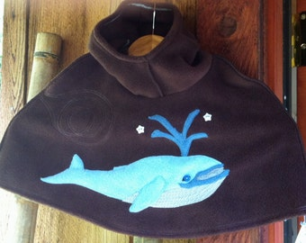 Hoodie Poncho with Blue Whale in Fleece (you choose color and size) XS / S