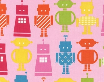 Robots in Pink by Anne Kelle for Robert Kaufman Fabrics, Funbots Collection, 1 Yard