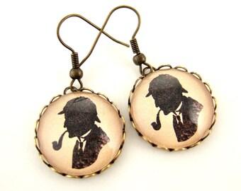 Sherlock Earrings Sherlock Holmes Earrings Cameo Earrings Profile of Sherlock Holmes Scientific Chic