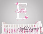 Nursery Wall Decals. Ellie with flying butterfles name wall decal. Name wall decal for baby nursery. 1021