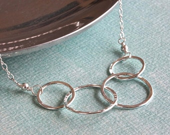 Family Necklace, Interlocking Rings Necklace, Sterling ...