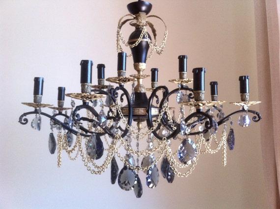 Riservato per louise lampadario vintage 12 luci nero e for Lampadario vintage