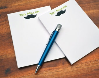 Personalized Notepads / Mustache Notepads /Personalized Notebook / Personalized Note Pads/ Set of Notepads /  Set of 2 Mustache Notepads