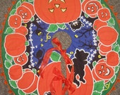 Vintage Halloween Tree Skirt Jack-O-Lanterns Black Cats 36 Inches x 32 Inches Vintage Materials